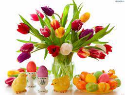 Wielkanoc, Tulipany, Bukiet, Kolorowe, Pisanki